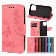 Taltech Butterfly Flower Wallet Case for iPhone 13 - Pink