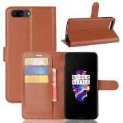Litchi PU-Leather Cover for OnePlus 5 - Brown