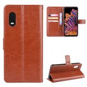 Taltech Crazy Horse Wallet Cover for Galaxy Xcover Pro - Brown