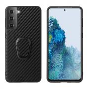 Taltech Case with Ringholder for Samsung Galaxy S21 Plus 5G - Carbon Fiber Texture