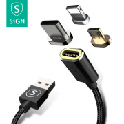 SiGN SiGN Magnetic Cable 3-in-1 USB-C, Lightning, Micro-USB 2.4A 1 m - Black