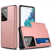 Taltech Samsung Galaxy S21 Ultra Case with Card holder - Rosegold