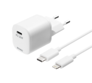 DELTACO PD wall charger by Deltaco with a USB-C to Lightning cable - White