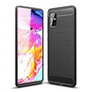 Carbon Fiber Texture Brushed TPU Case for Samsung Galaxy A51 - Black