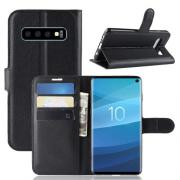 Litchi Skin Cover for Samsung Galaxy S10 - Black