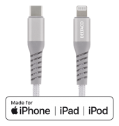 DELTACO Deltaco USB-C to Lightning Cable, 5V/2,4A, 1m - Silver