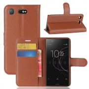 Litchi Grain PU-Leather Cover for Sony Xperia XZ1 Compact - Brown