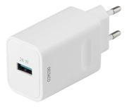 DELTACO Deltaco Wall Charger med Fastcharge, 24W - White