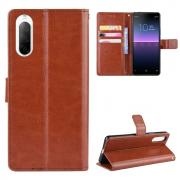 Taltech Crazy Horse Wallet Cover for Sony Xperia 10 II - Brown