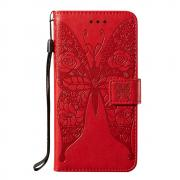 Taltech Butterfly Wallet Cover for Samsung Galaxy S21 Ultra 5G - Red