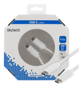 DELTACO Deltaco USB-Cable USB-C for USB-C 2A, 0,5 m - White