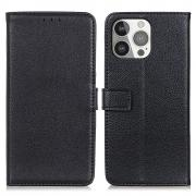 Taltech Litchi Skin Magnetic Wallet Case for iPhone 13 Pro - Black