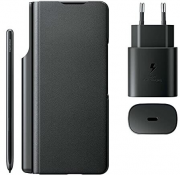 Samsung Samsung Leather Flip Cover for Galaxy Z Fold3 + S Pen & Adapter 25W - Black
