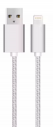 USB Cable with Lightning for iPhone & iPad Silver/nylon, 1m