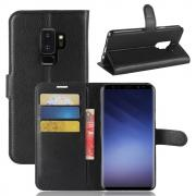 Litchi PU-Leather Cover for Samsung Galaxy S9 Plus - Black
