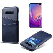 Crazy Horse Case with 2 Cardslots for Samsung Galaxy S10 Plus - Dark Blue