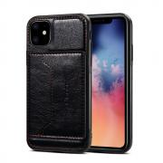 Taltech Crazy Horse Case with Card Holder for iPhone 11 - Black
