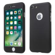 Taltech Full Cover with hard Case and Tempered Glass for iPhone 7/8 - Black