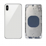 iPhone XS Max Complete Back Cover Glass with Frame - Silver