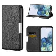 Taltech Litchi Skin Wallet Cover for Samsung Galaxy S21 5G - Black