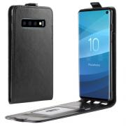 Crazy Horse Vertical Flip Cover for Samsung Galaxy S10 - Black