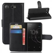 Litchi Grain PU-Leather Cover for Sony Xperia XZ1 Compact - Black