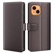 Taltech Wallet Case in Genuine Leather for iPhone 13 - Brown