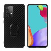 Taltech Kickstand Case with Ringholder for Galaxy A52 4G/5G - Carbon Fiber Texture