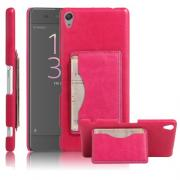 Taltech Retro PU-Leather Case with Cardholder for Xperia XA / XA Dual - Pink
