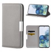 Taltech Litchi Skin Wallet Cover for Samsung Galaxy S21 5G - Grey