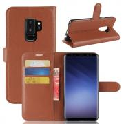 Litchi PU-Leather Cover for Samsung Galaxy S9 Plus - Brown