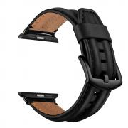 Taltech Top Layer Leather Watchband for Apple Watch 6/SE/5/4 44mm & 3/2/1 42mm - Black