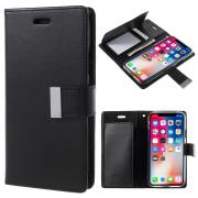 OEM Mercury Goospery Rich PU-Leather Cover for iPhone X/XS - Black