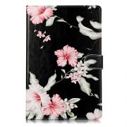 "Taltech Wallet Cover for Samsung Galaxy Tab S5e 10.5"" - Flowers - Black"