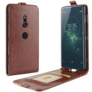 Crazy Horse Flip Cover for Sony Xperia XZ2 - Brown