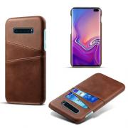 Crazy Horse Case with 2 Cardslots for Samsung Galaxy S10 Plus - Brown