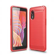 Taltech Brushed Carbon Fiber Case for Samsung Galaxy Xcover 5 - Red