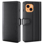 Taltech Wallet Case in Genuine Leather for iPhone 13 - Black