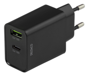 DELTACO USB-C & USB-A PD, 18W wall charger by Deltaco- Black