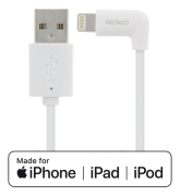DELTACO DELTACO Angled USB to Lightning Cable 2.4A, 1m, MFI – White