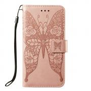Taltech Butterfly Wallet Cover for Samsung Galaxy S21 Ultra 5G - Pink