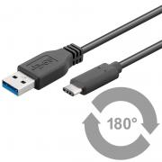 OEM USB 3.0-Cable, USB-C,3.0, 0,5m , Black