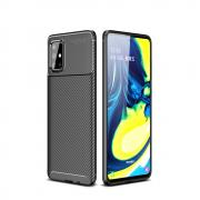 Taltech Case with Carbon Fiber design for Samsung Galaxy A71 - Black