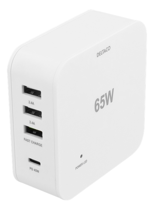 Deltaco 65W Charger, USB C PD, Fast Charging, MacBook Air