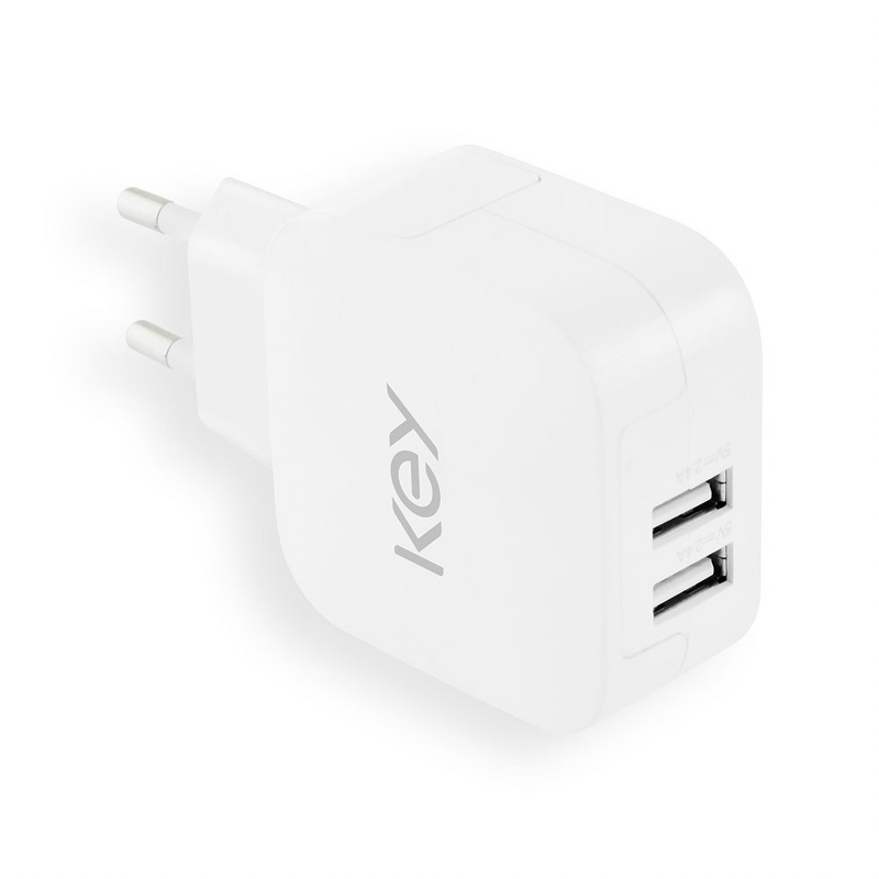 Key Wall Charger 2 x USB A 5V4,8A White Spares