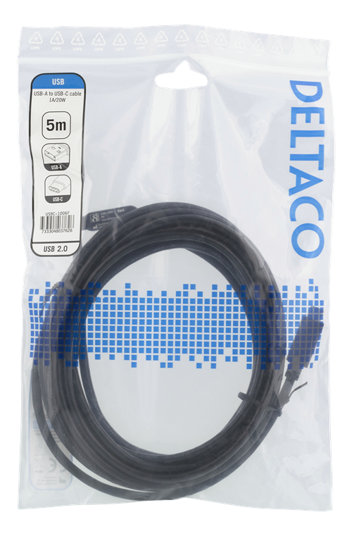 DELTACO Deltaco USB-A to USB-C Cable, 1A, 5m - Black